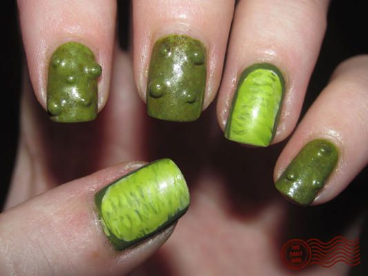 Pickle nails...ewww!  haha I'm gonna do this to u sometime
