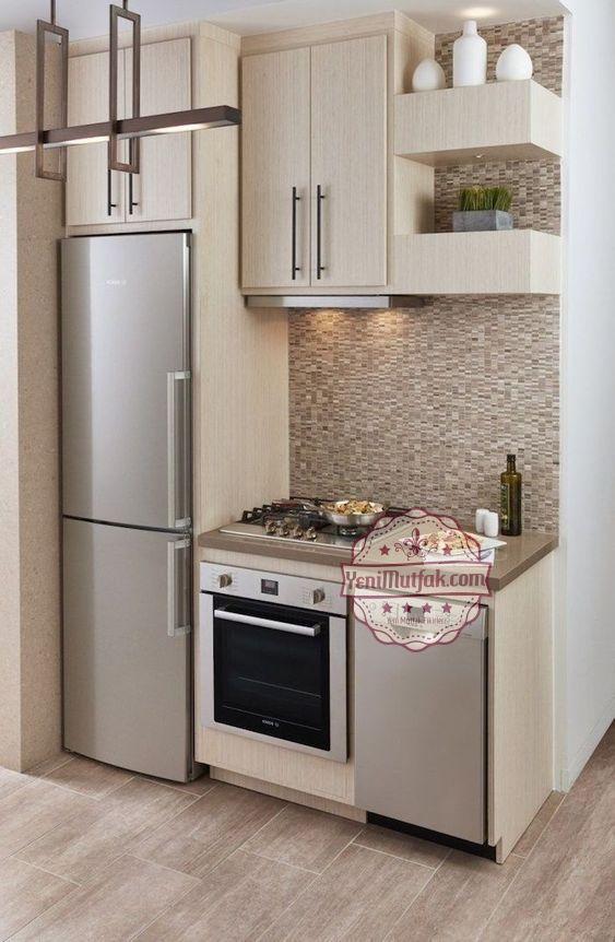 Modern 25 Kucuk Mutfak Modelleri Yenimutfak Com Small Modern Kitchens Small Apartment Kitchen Tiny House Kitchen