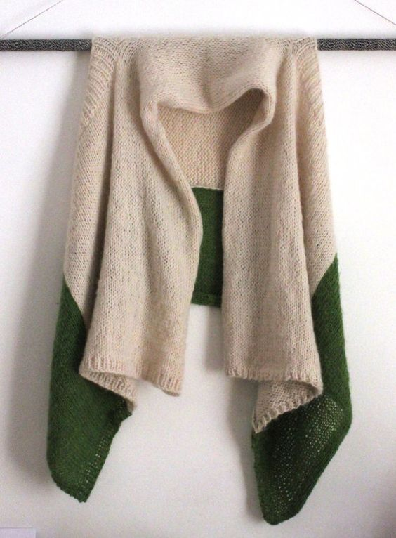 UNKU one-size color-block knit mohair wrap sweater // cream + avocado green