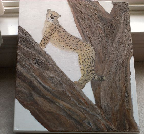 Cheetah  Acrylic textured painting on a stretched canvas.