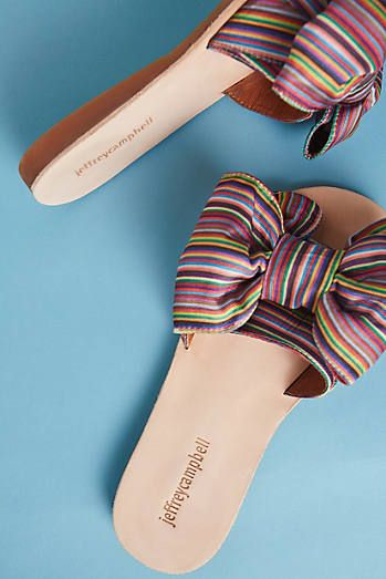 Image result for jeffrey campbell rainbow ribbon slides