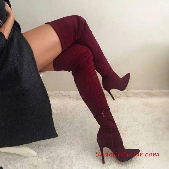 2019 Uzun Cizme Modelleri Bordo Stiletto Yandan Fermuarli Uzun Cizme Stiletto Cizmeler