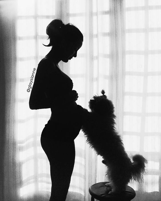 Foto de Gestante com cachorro. Pregnancy and pets. #pregnant #gravida #cachorro #dog #pregnancy