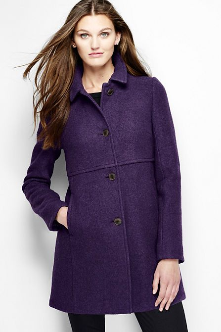 Women's Purple Boiled Wool Coat - Lightweight and remarkably warm