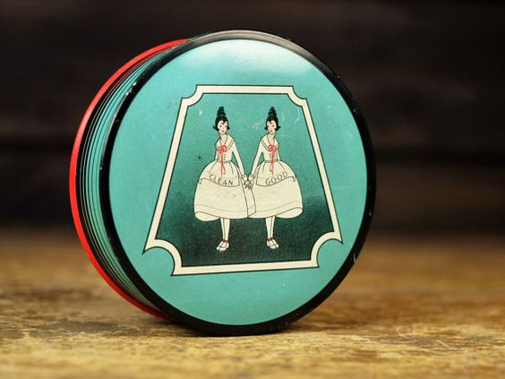Vintage Typewriter Tin Columbia Carbon Co Mineral Wax Twins Good and Clean Dayton Ohio Round Metal Container Advertising Display by Misinterpreted on etsy