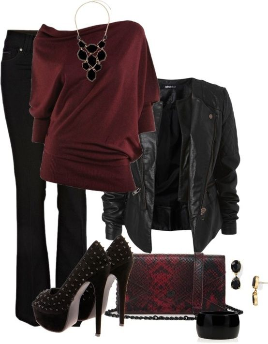 Black and Cranberry Glamour Rock Chic! .. Sure why not... Fun in the night kind a look