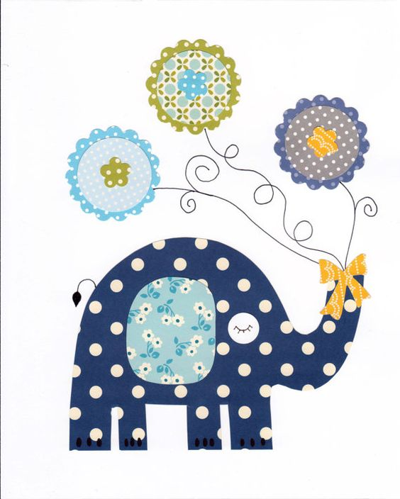 L phant color animal p pini re oeuvre imprimer b b - Stickers elephant chambre bebe ...