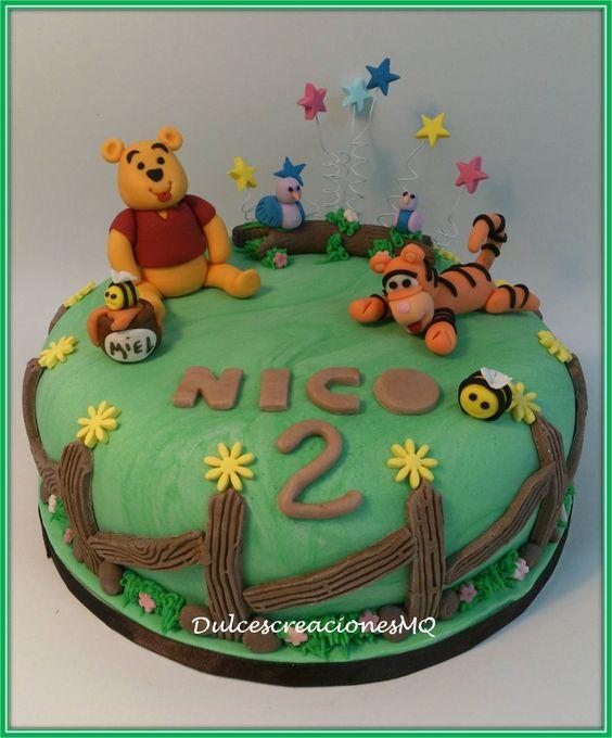 Tarta pastel cumplea os aniversario ni o fondant winnie - Bizcochos de cumpleanos para ninos ...