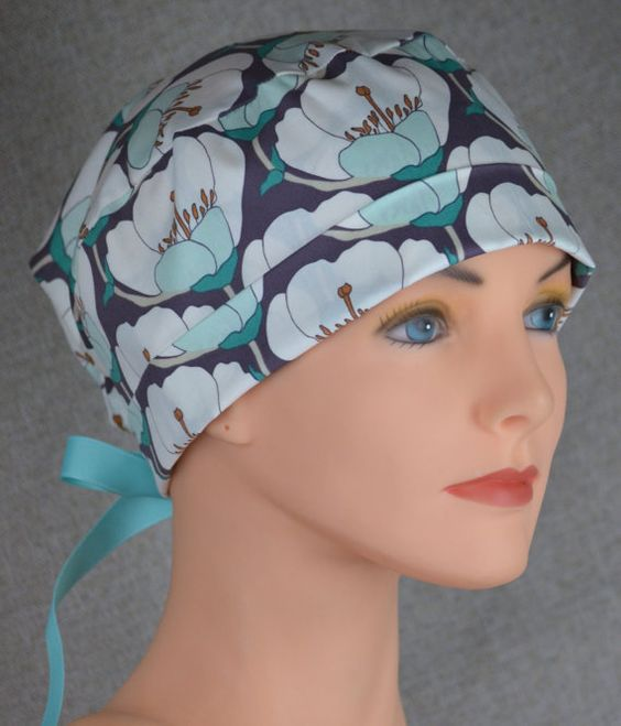 Surgical Scrub Hat or Chemo Cap The Mini with by thehatcottage