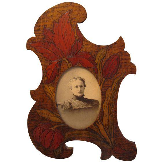 Austria pyrography   art nouveau wood