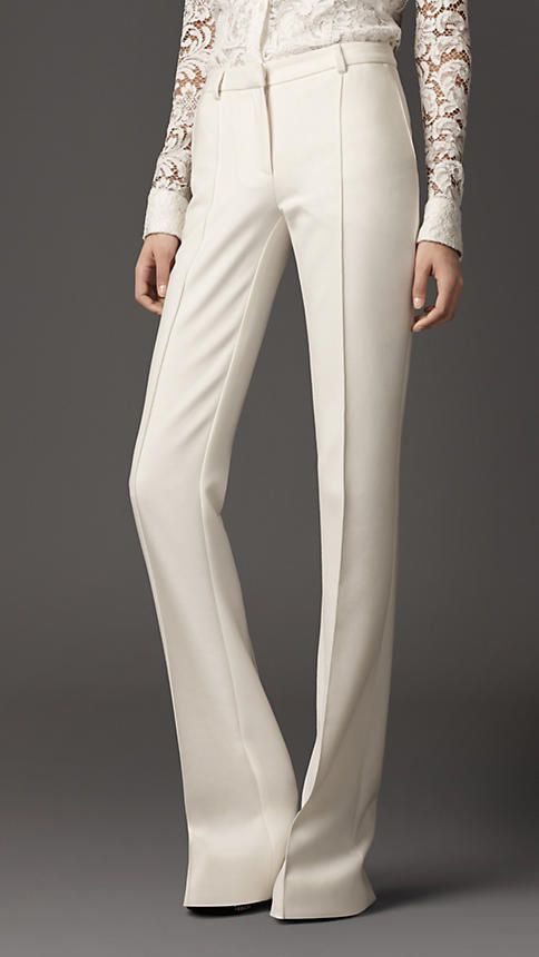 Burberry - STRETCH JERSEY FLARED TROUSERS