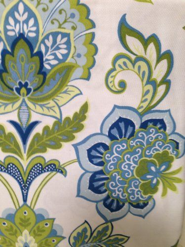 Blue and Green Floral on White Shower Curtain
