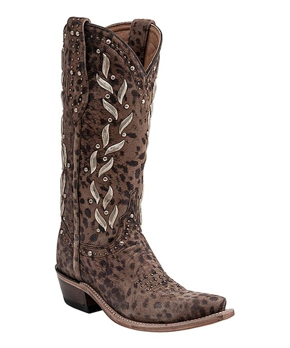 Look at this Camel Cheetah Stud Leather Cowboy Boot - Women on #zulily today!