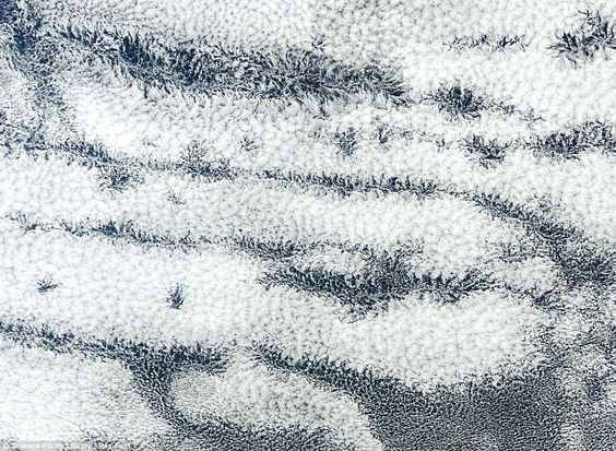 Actinoform clouds: Visible from space, actinoform clouds form ray like patterns over hundreds of kilometres. They are associated with drizzle and gloomy weather