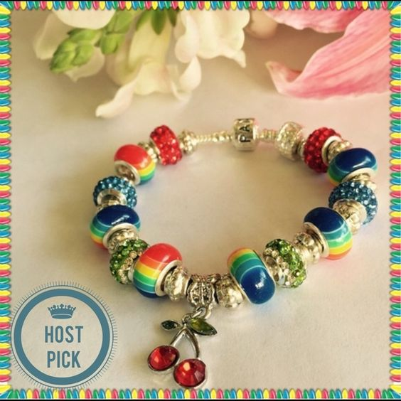 ❌HOLD CYNDY❌♓️️Autism SpectrumSP 925Bracelet Host Pick 5/29 by  LOADED WITH FINE QUALITY BEADS.  1 stamped .925 stopper bead, 2 sparkly red beads, 6 rainbow beads, 2 sparkly blue beads, 2 green and clear sparkly beads, 1 cherry charm and Tibetan Silver spacers.  SEE MATCHING NECKLACE. NO ️️,NO LOW BALLING Jewelry Bracelets