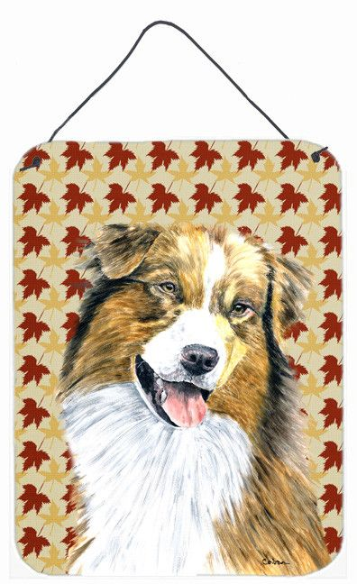 Australian Shepherd Fall Leaves Portrait Wall or Door Hanging Prints