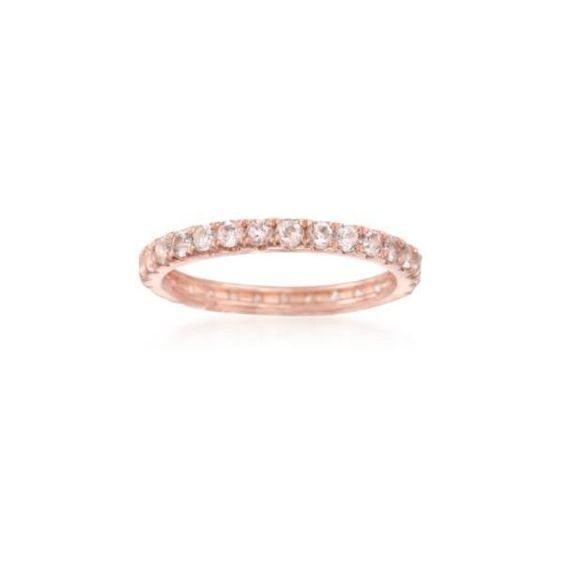 Ross-Simons 1.00 ct. t.w. Morganite Eternity Band in 14kt Rose Gold... (8400 RSD) ❤ liked on Polyvore featuring jewelry, rings, rose gold, ross simons rings, red gold jewelry, pink gold jewelry, rose gold ring and ross-simons