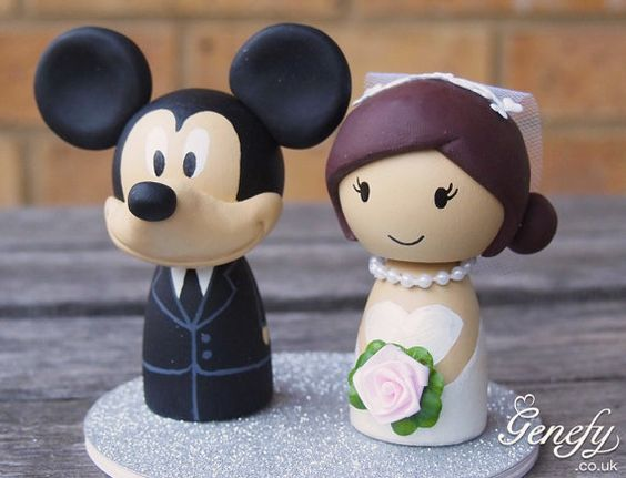 Cute disney MICKEY wedding cake topper with by GenefyPlayground https://www.facebook.com/genefyplayground: