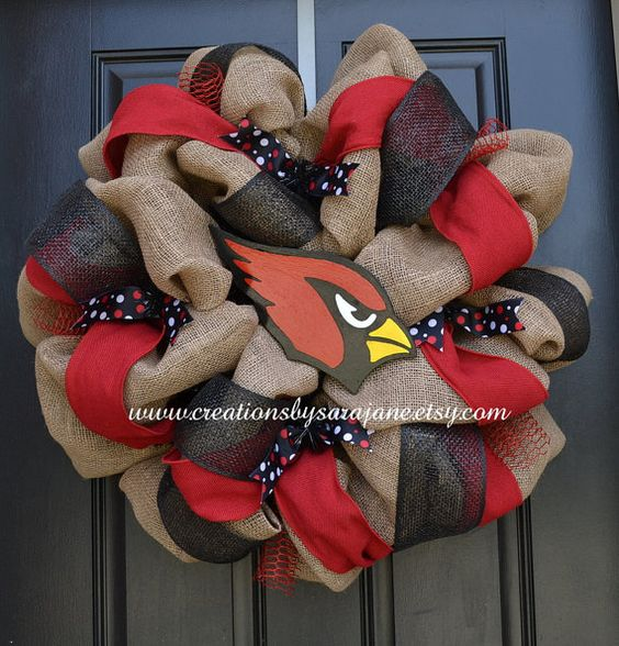 Burlap Arizona Cardinals Wreath on Etsy, $95.00