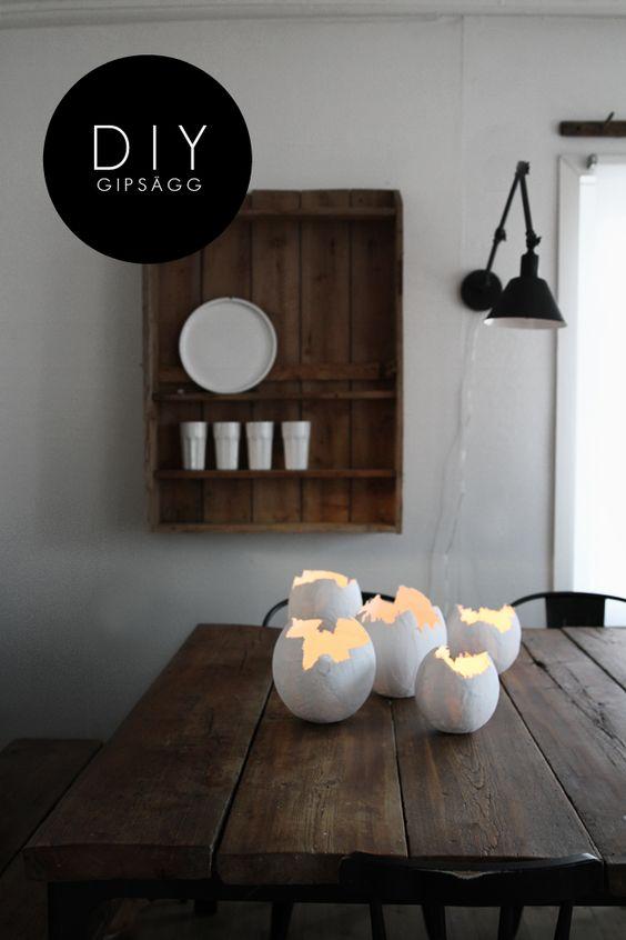 diy gips lampen diy pinterest pappmach eier und basteln. Black Bedroom Furniture Sets. Home Design Ideas