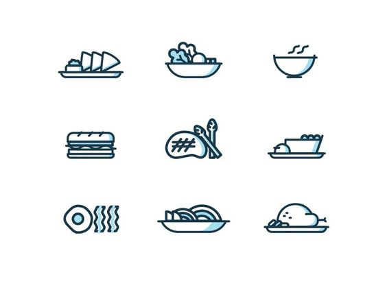 Dining Icons pt.2 by Vy Tat https://dribbble.com/shots/2814438-Dining-Icons-pt-2 #zeeenapp