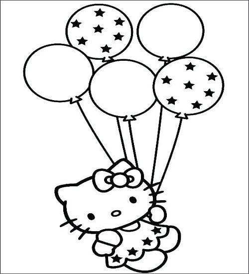 Ballon Ausmalbilder Hallo Kitty Geburtstags Geburtstag Malvorlagen Hello Kitty