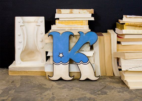 Blue and White Carnival Style Wood Letter K via Etsy