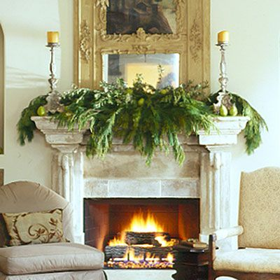 Elegant And Simple Mantle Using Live Cedar Greenery