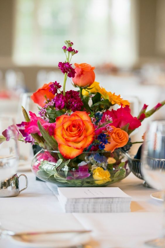 Bright & Colorful Wedding Centerpieces, Floral {Erin Johnson Photography} -  mazelmoments.com | Wedding Ideas | Pinterest | Colorful wedding centerpieces,  ...