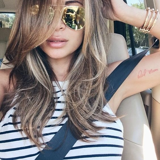 Brown sugar brunette with this length.  I like her medium length.  Also want to add longer bangs in the front