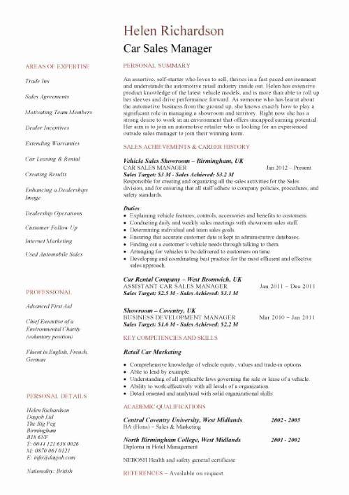 Automobile Service Manager Resume Elegant Car Sales Manager Resume Template Resume Help Pinterest Manager Resume Sales Resume Examples Job Resume Samples