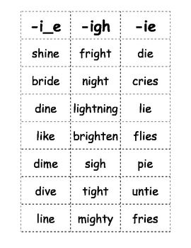 Worksheets Ie Words Phonics List the long spelling and words on pinterest here is a list of with i sound that kids can play games this document includes ie e quo