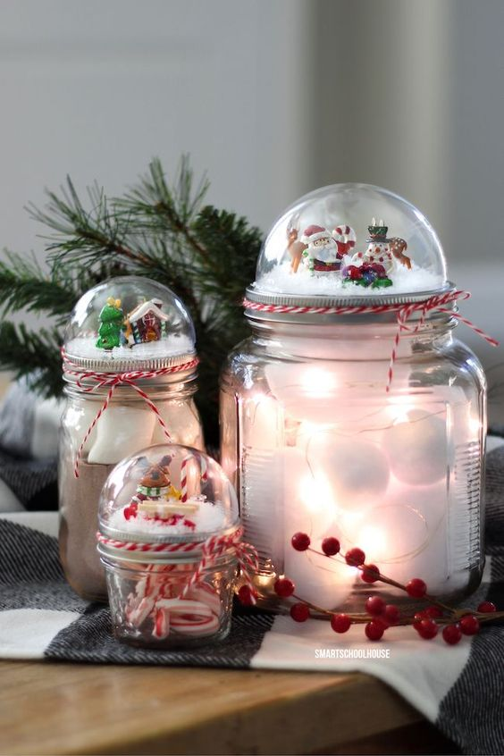how to make a mason jar lid snow globe for christmas using a clear plastic ornament adorable. Black Bedroom Furniture Sets. Home Design Ideas