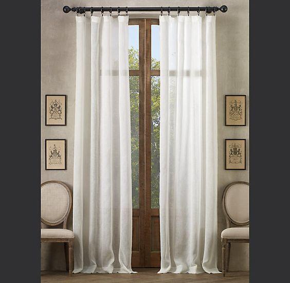 Restoration hardware sheer belgian linen sheer belgian for Linen sheer window panels