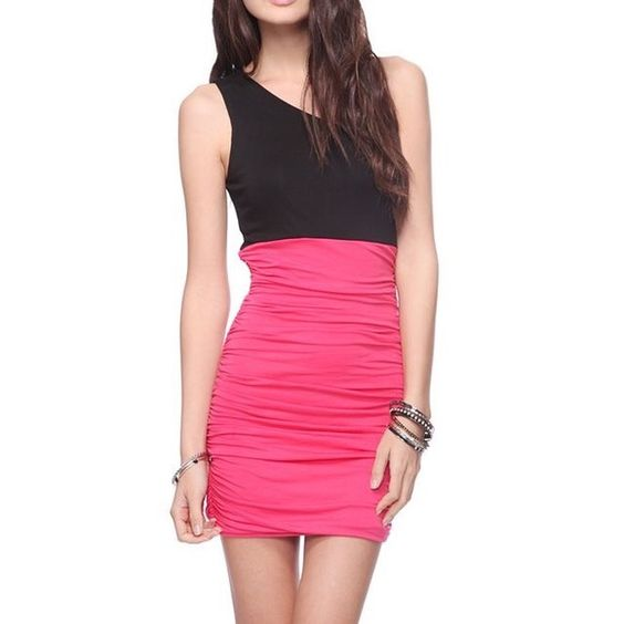 Forever 21 one shoulder color block ruched dress Appear up-to-the minute and look gorgeous wearing the Ruched Colorblock Dress from Forever 21. This dress is going to flaunt out your figure, especially if you an hourglass body and even if you don't. This is perfect to wear for prom, a date night or summer shopping day. Casual or dressy, or in any special occasion. You have got to have this gorgeous wear. Not too short. brand new. Never worn. Forever 21 Dresses One Shoulder
