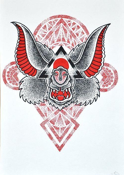 #dotwork #tattooflash #geometry #bat