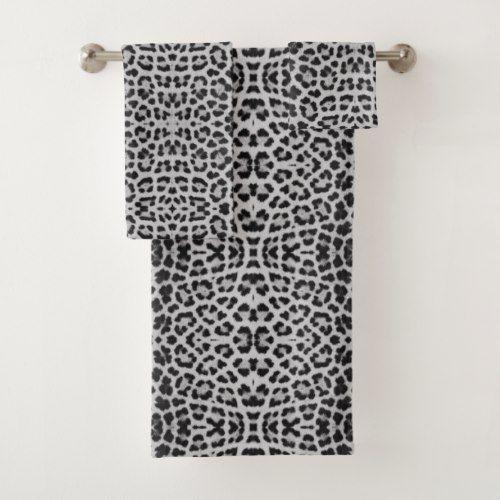 Snow Leopard Animal Print Bathroom Towel Set Animal Print Bathroom Personalized Bath Towels Towel Set Bathroom