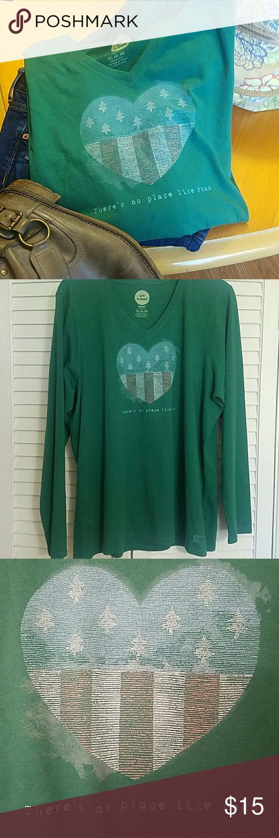"""XXL Life Is Good  Long Sleeve Tee New without tag, never worn.  Roomy & comfy fun shirt w heart resembling American flag w trees instead of stars.  """"There's no place like roam"""" for those of us who are always out n about.. Life is Good Tops Tees - Long Sleeve"""