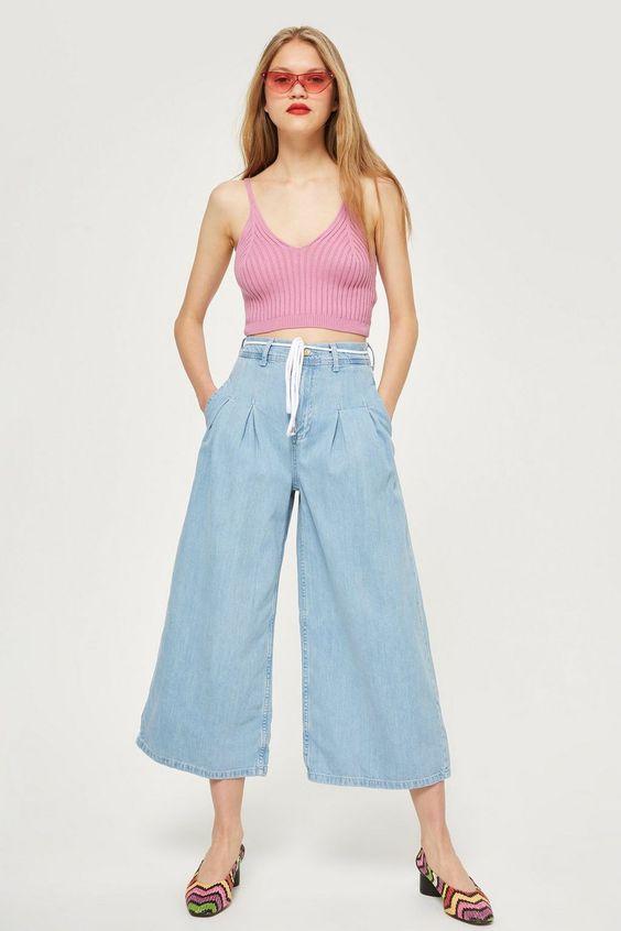 MOTO Bleach Tie Cropped Wide Leg Jeans - Shop All Jeans - Jeans - Topshop