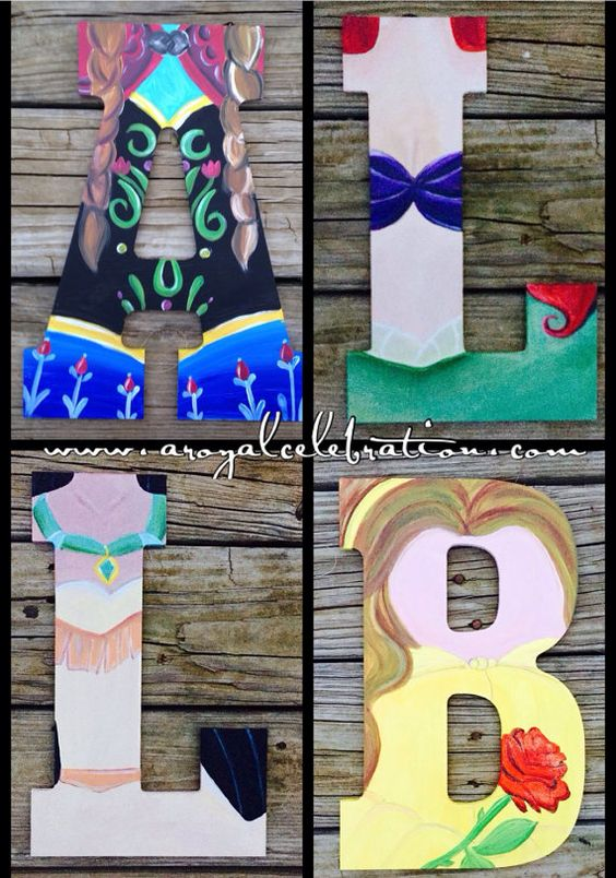Hey, I found this really awesome Etsy listing at https://www.etsy.com/listing/217386740/disney-princess-wood-letter-art