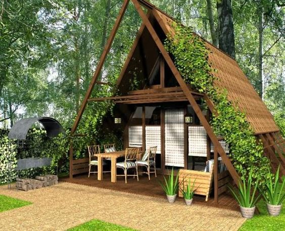 Cute small house designs with gable roofs and triangular a for Small hut design