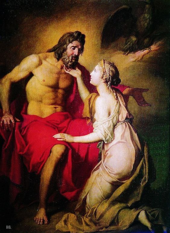 Zeus and Thetis. 1769. Anton Losenko. Ukranian. 1737-1773. oil on canvas.: