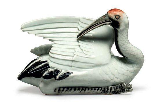 A rare Japanese porcelain recumbent crane, Arita, circa 1800