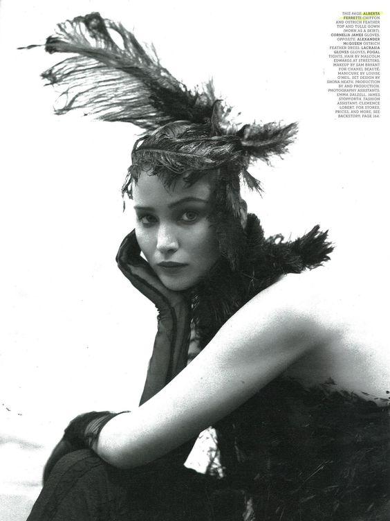 Jennifer Lawrence wearing Alberta Ferretti Autumn/Winter 2012 on W magazine, shot by Tim Walker