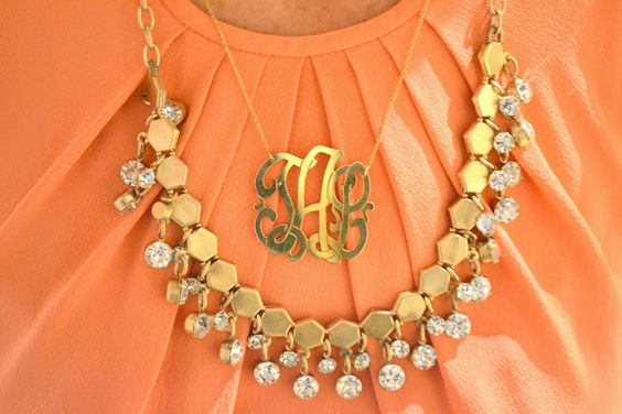 Love layering monogram necklaces with other jewelry.