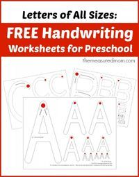 Free handwriting worksheets for preschool: Letters of All Sizes!