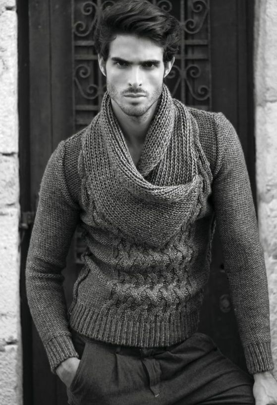 Large knit sweater. The oversized collar would help hide a big belly.