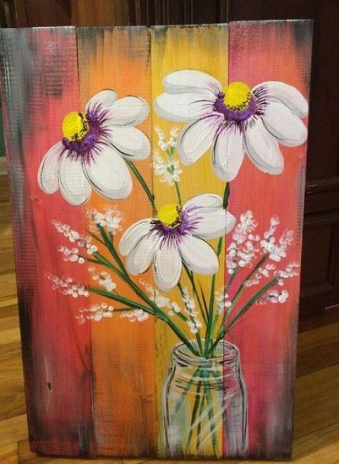 42 Ideas Flowers Painting On Wood Fence Painting Flowers Fence