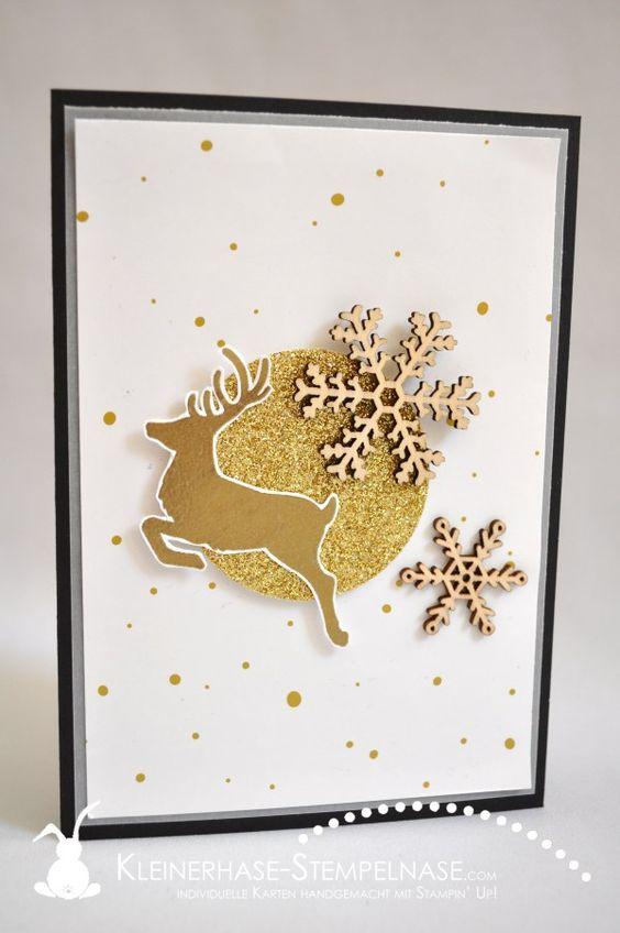 Stampin Up Weihnachten Hirsch Gold Schneeflocken Zauberwald Wahre Weihnachtsfreude