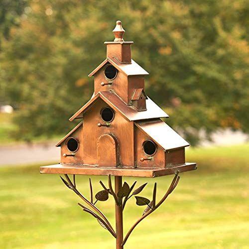 Tisyourseason Copper Finish Songbird Deluxe Bird House Condominium Stakes Church Style Tisyourseason In 2020 Bird House Bird Houses Purple Martin House
